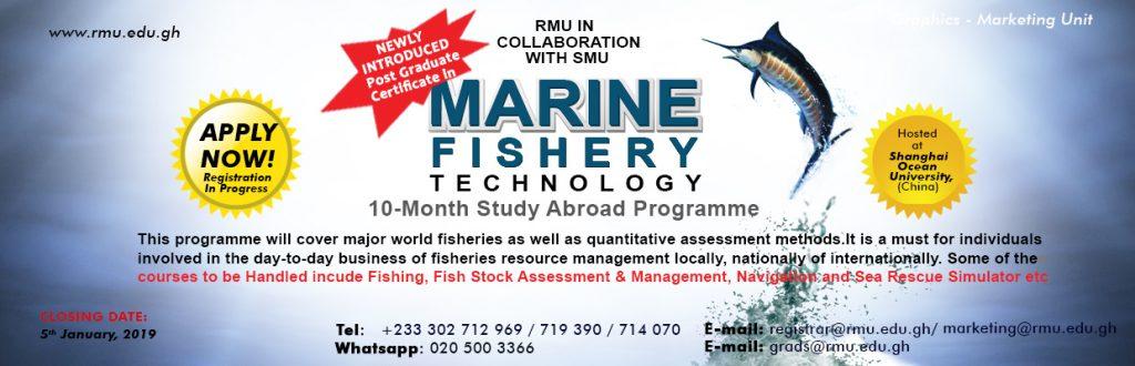 RMU Postgraduate Certificate in Marine Fishery Admissions