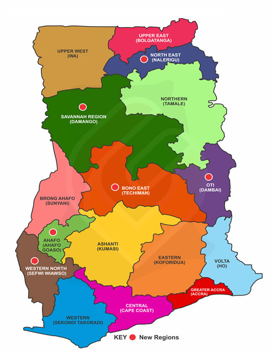 Largest Regions in Ghana by Land Mass