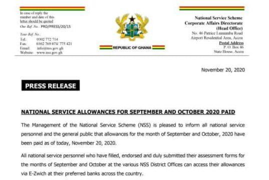 NSS Pays Allowances