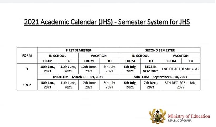 Junior High Schools Academic Calendar