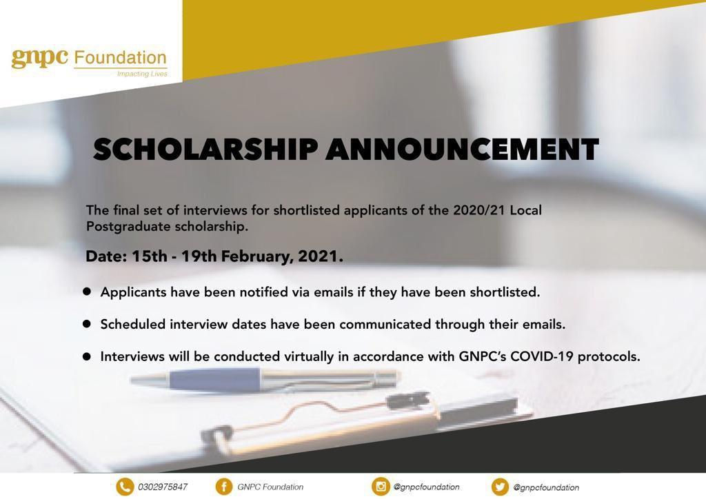 GNPC Schedules 2021  Postgraduate Scholarship Interview Dates